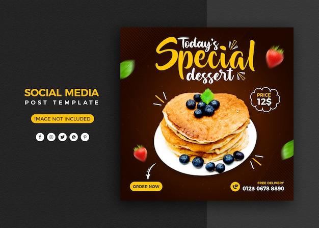 Promoción de redes sociales de pastel y plantilla de diseño de publicación de banner de instagram