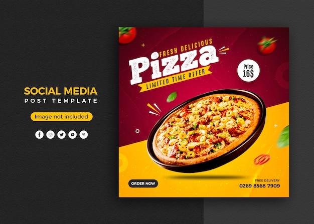 Promoción de redes sociales de pizza y plantilla de diseño de publicación de banner de instagram