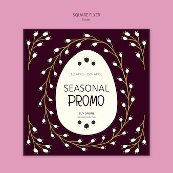 Promocional de temporada de pascua y folleto cuadrado de ramas