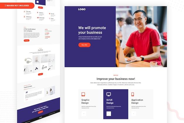 Promoot zakelijke website pagina ontwerpsjabloon