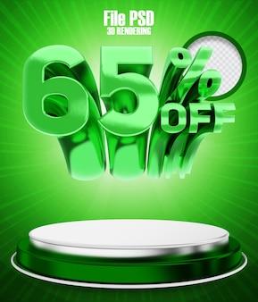 Promotie 65 korting op 3d-rendering groene banner