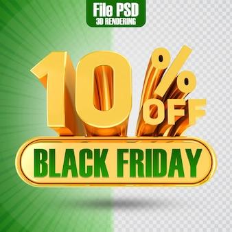 Promotie black friday tekst goud 10 3d-rendering
