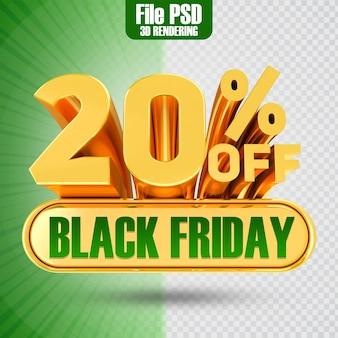 Promotie black friday tekst goud 20 3d-rendering