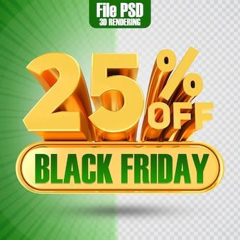 Promotie black friday tekst goud 25 3d-rendering
