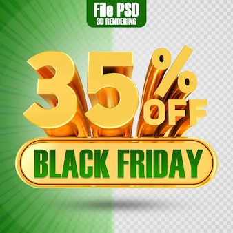 Promotie black friday tekst goud 35 3d-rendering
