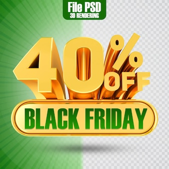 Promotie black friday tekst goud 40 3d-rendering
