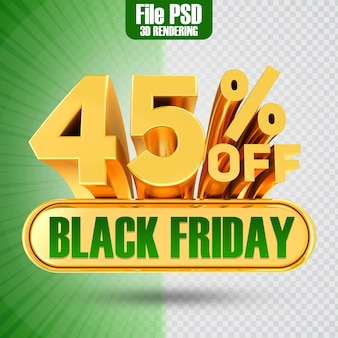 Promotie black friday tekst goud 45 3d-rendering