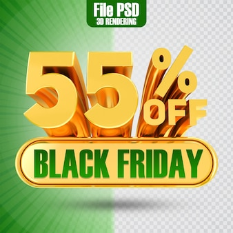 Promotie black friday tekst goud 55 3d-rendering
