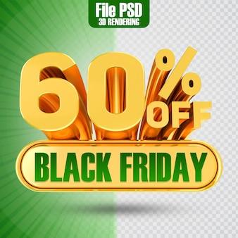 Promotie black friday tekst goud 60 3d-rendering