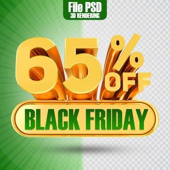 Promotie black friday tekst goud 65 3d-rendering