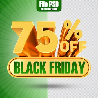 Promotie black friday tekst goud 75 3d-rendering