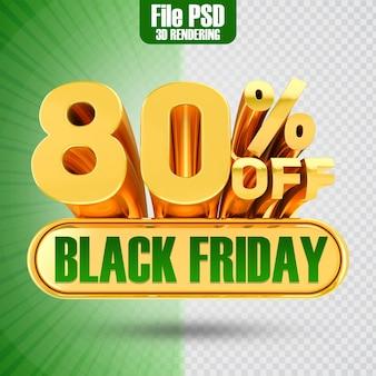 Promotie black friday tekst goud 80 3d-rendering