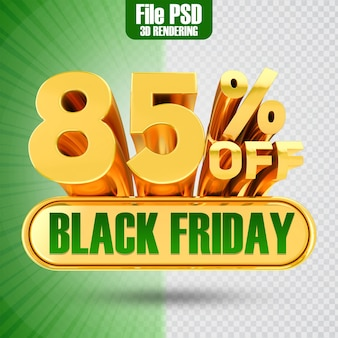 Promotie black friday tekst goud 85 3d-rendering