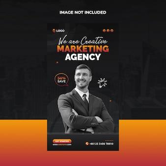 Promotie instagramverhaal van marketingbureau of postsjabloon voor sociale media
