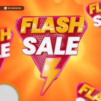 Promotie-logo in 3d-rendering geïsoleerde 3d-flash-verkoop