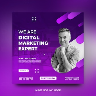Promotie social media postsjabloon voor digitaal marketingbureau