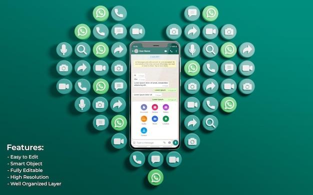 Promotie voor twitter-post omringd door 3d zoals love and comment icon