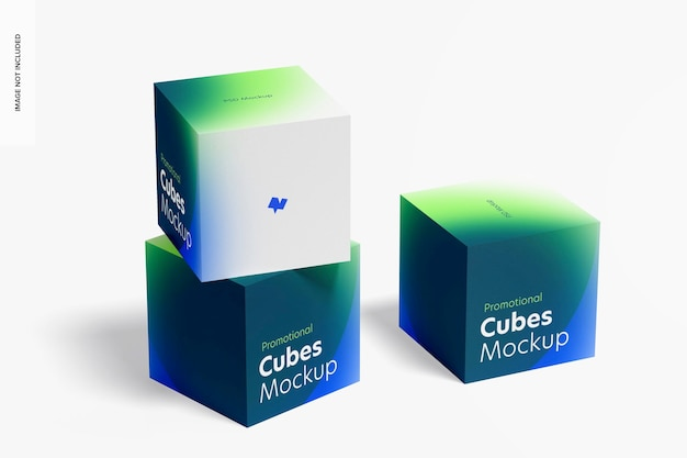Promotionele kubussen weergeven mockup, gestapeld