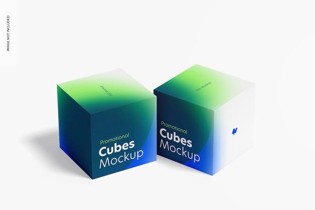 Promotionele kubussen weergeven mockup, rechteraanzicht