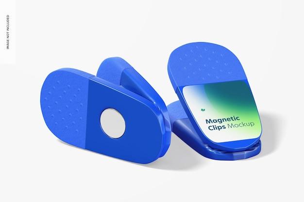 Promotionele magnetische clips mockup, achter- en vooraanzicht