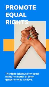 Promover la igualdad de derechos plantilla psd celebración del mes del orgullo lgbtq historia de redes sociales