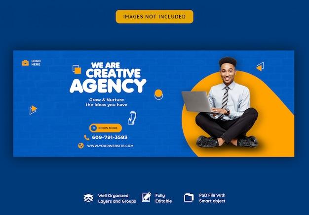 Promozione aziendale e modello di copertina creativo di facebook