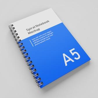 Pronto per l'uso di un modello di progettazione di mock-up per notebook a copertina rigida con copertina rigida dell'azienda a5 nella vista prospettica in alto a destra