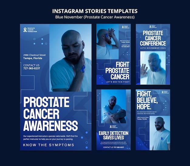 Prostaatkankerdag social media verhalen in blauwe tinten