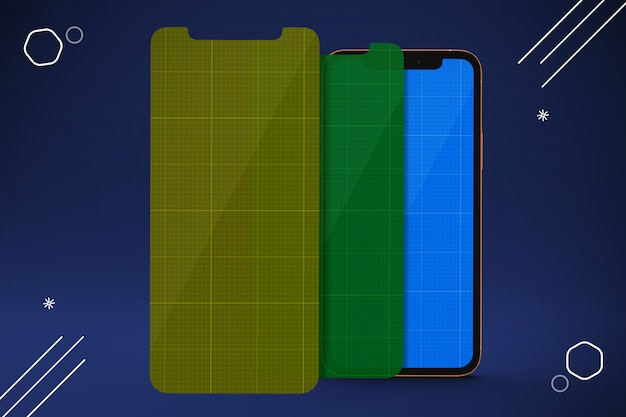 Protectores de pantalla de teléfonos móviles, maquetas de teléfonos inteligentes