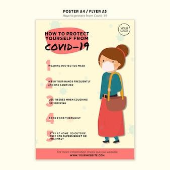 Protégete y plantilla de póster de mujer