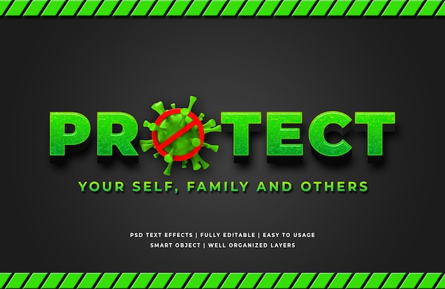 Proteggi l'effetto del testo in stile corona virus 3d