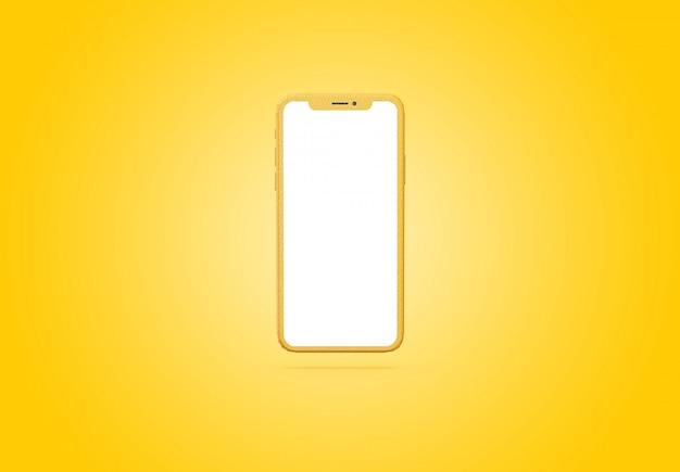 Prototipo di smartphone con modello di schermo a sfondo giallo