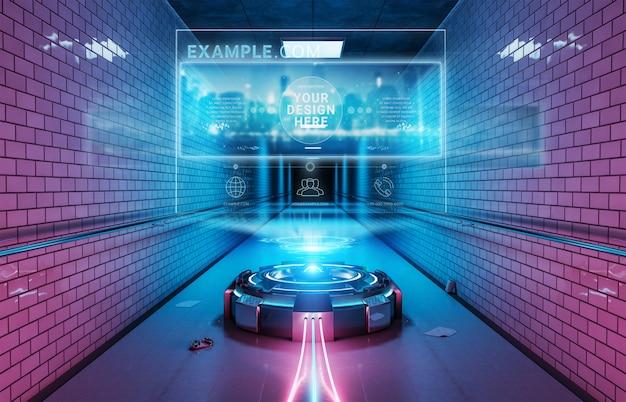 Proyector de cartelera futurista en maqueta interior de túnel