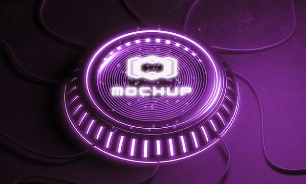 Proyector de efecto de maqueta de logo futurista
