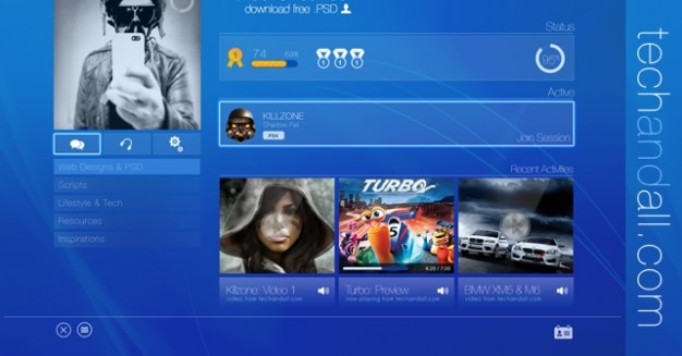 Ps3 user interface mockup psd