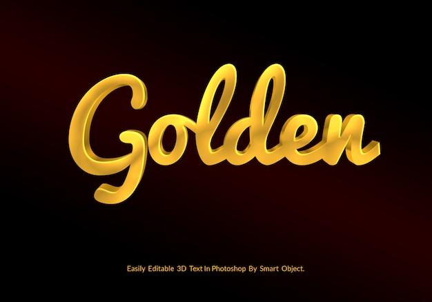 Psd dorato di lusso del modello di stile di effetto del testo 3d