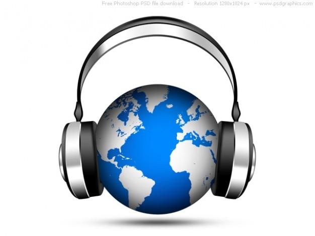 Psd icona della musica mondiale, globo con le cuffie