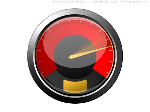 Psd icono rojo del velocímetro
