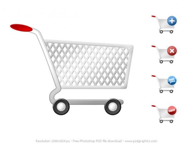 Psd iconos conjunto de carrito de la compra