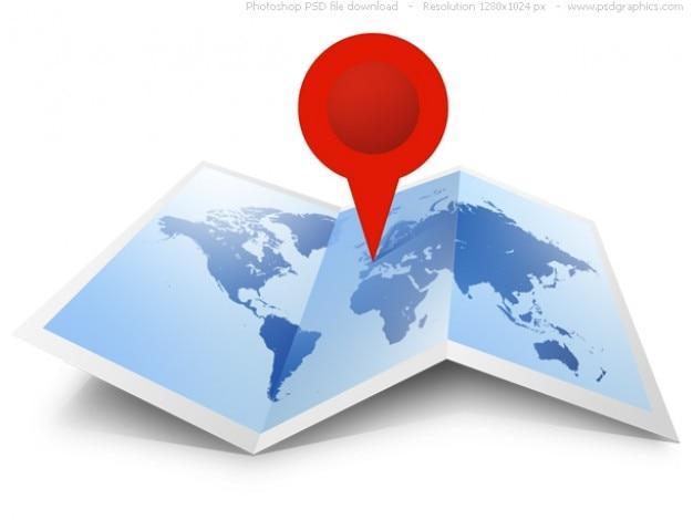 Psd mappa del mondo icona