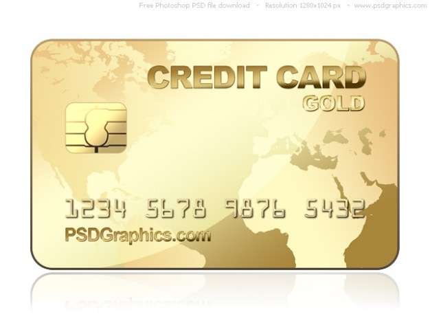 Psd modello di carta di credito oro