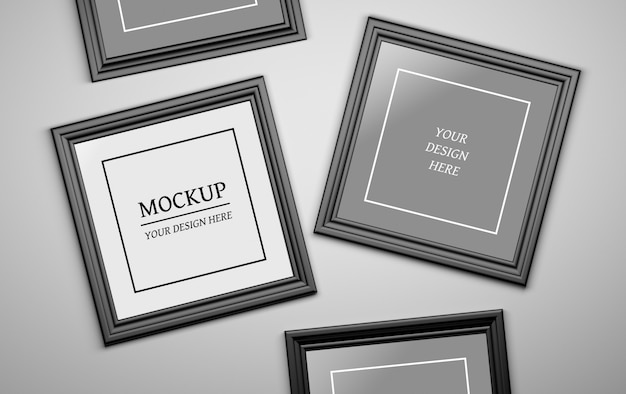 Psd modificabile mock up con quattro cornici per foto nere