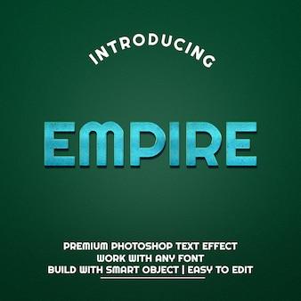 Psd premium effetto testo metallizzato blu impero 3d