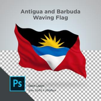 Psd trasparente dell'onda della bandiera di antigua e barbuda