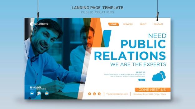 Public relations-bestemmingspagina-sjabloon