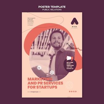 Public relations poster sjabloon met foto