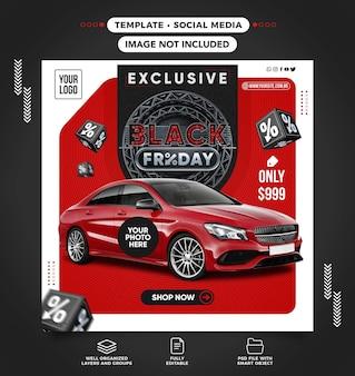 Publicación de alimentación de redes sociales de ventas de automóviles de black friday