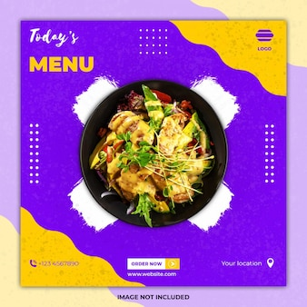 Publicación de banner de redes sociales de comida culinaria de ramadán
