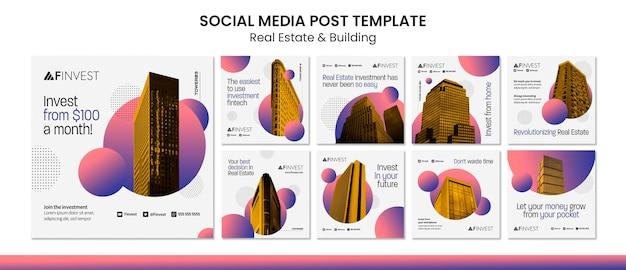 Publicación de bienes raíces y construcción en redes sociales.