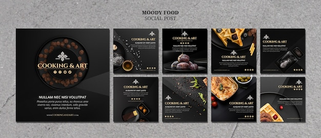 Publicación de cocina y arte en redes sociales